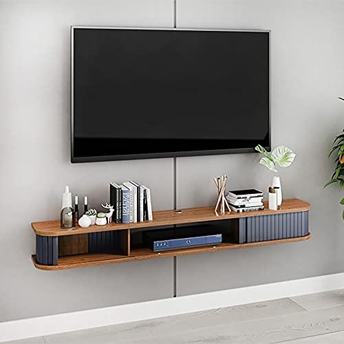 Mueble de TV Mesa Flotante,Unidad de TV Flotante Madera Maciza,Consola multimedia montada gran capacidad para apartamentos pequeños/B / 80cm