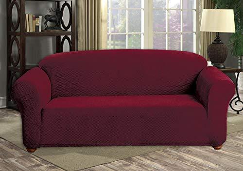 Quick Fit Hayden Hanover Funda de sofá de Terciopelo elástico en Merlot, Sofa Cover
