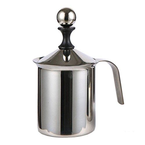 Milchaufschäumer, doppeltes Netzgewebe, für Kaffee, Milchschaum, Cappuccino-Maker 400 ml/800 ml, manueller Edelstahl-Milchaufschäumer mit Easy-Grip-Griff für Milchschaum 800 ml Wie abgebildet