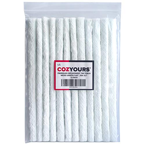 Cozyours Replacement Fiberglass Wicks (12-Pack, 1/2 х 9.85 Inches), Wicks for Tiki Torches