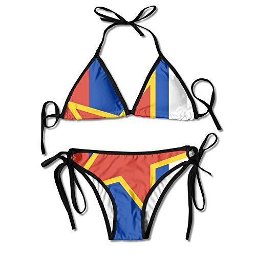 Women's Thong Bikini Suit Swimsuit The Red Star Glittering in The Russian Flag Sexy Bikini Set 2 Piece