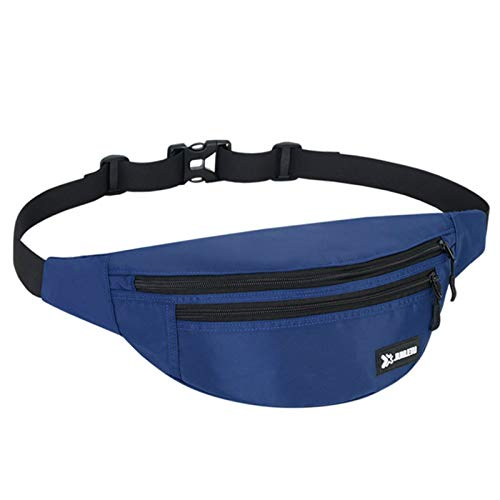 Mens waist ba Waist Bag Chest Pack Laptop Backpack For Workouts, Exercise, Cycling, Walking waterproof mens waist bag (Color : Blue, Size : One size)