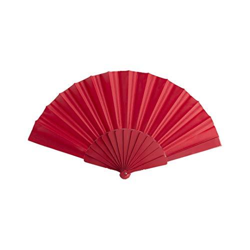 DISOK Lote 50 abanicos de varillas de plástico y tela en poliéster en color rojo. Presentado en caja individual con ventana. Abanicos baratos para bodas.