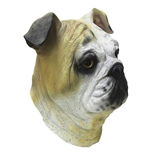HENGYUTOY MASK Latex Bulldog Hond Hoofd Masker Dier Kerstmis Halloween Fancy Jurk Party Decoraties Accessoire Kostuum