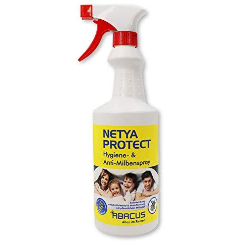 NETYA PROTECT 750 ml (4140) - Hygienespray Anti-Milbenspray Hausstaubmilben-Spray Matratzenspray Bettdecken Kissen Polstermöbel Teppich Gardinen Kuscheltieren - ABACUS