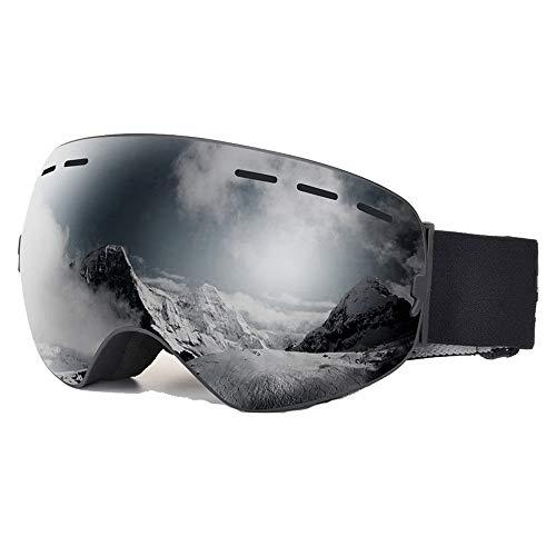 ZXLIFE@@ Skibrille, Snowboardbrille mit extra langem Riemen, Schnee Schutzbrille, zum Skifahren/Snowboarden/Motorschlittenfahren,Grau
