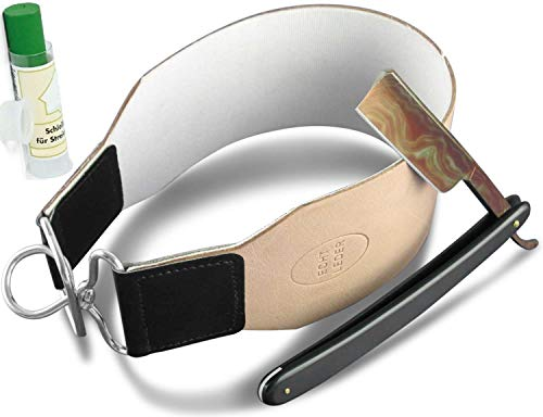 3-Teiges Rasiermesser-Set für Herren Rasier-Set mit Paste aus Solingen Made in Germany - Rasiermesser mit Damast Optik und Extra Breiter Leder Streichriemen von InstrumenteNRW mit Sitz in Deutschland