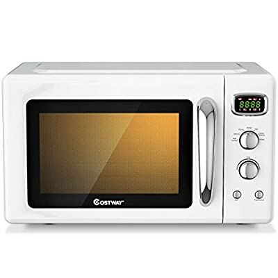 ARLIME 0.9 Cu.ft Microwave Oven, 900W Retro Countertop Compact Microwave Oven, Defrost & Auto Cooking Function, LED Display, Glass Turntable and Viewing Window, Child Lock, ETL Certification (White)