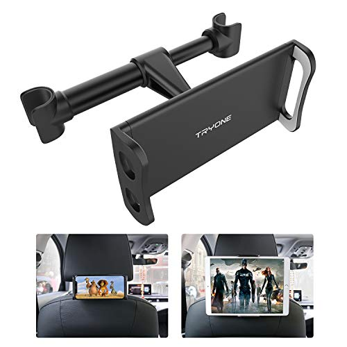 Tryone Supporto Tablet Poggiatesta Auto, supporto per tablet per sedile d'auto per iPad/Samsung Galaxy Tab/Amazon Kindle Fire HD Altri ecc di 4,7-10,5 pollici (Nero)