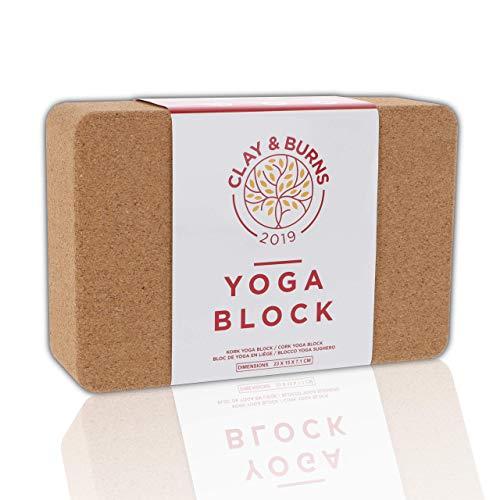 CLAY&BURNS Bloque para Yoga de Corcho Natural | Ladrillo Yoga | 100% Hecho de Corcho Natural | Bloque para Yoga, Pilates y Entrenamiento | Bloque para Practicar Hatha Yoga y Meditación