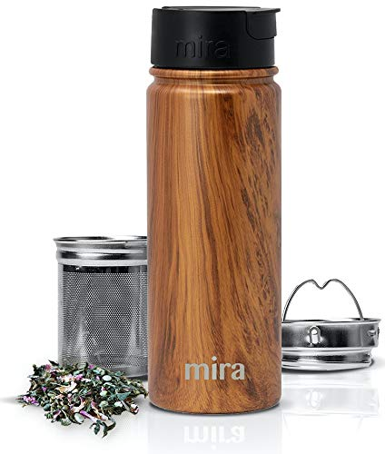 MIRA Stainless Steel Insulated Tea Infuser Bottle for Loose Tea - Thermos Travel Mug with Removable Tea Infuser Strainer - Wood - 18 oz