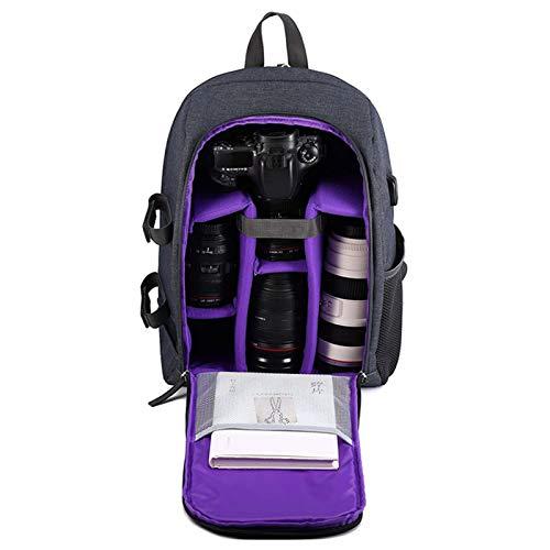 Flytise Mochila Multifuncional para cámara, Bolsa de Viaje portátil de Gran capacd para cámara, Bolsa para computadora (púrpura)