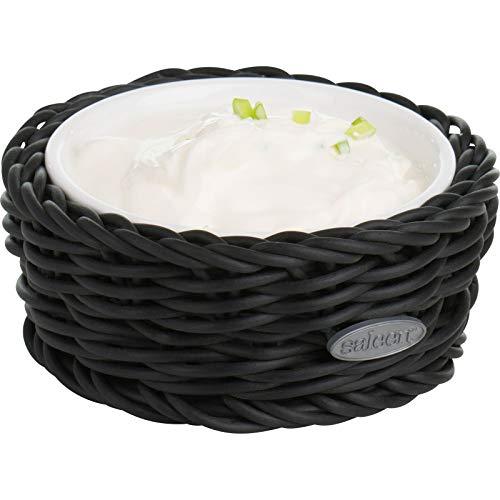 Westmark Saleen 2100204160 Petit Panier Rond avec Bol en Porcelaine Beige, Noir, Ø 10,5 cm