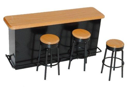 Unbekannt Bar mit 3 Hocker aus Metall / Holz schwarz Miniatur - Maßstab 1:12 - Puppenstube Puppenhaus Miniaturbar - Küche - Küchenmöbel - Diorama Cocktailbar - Cocktail