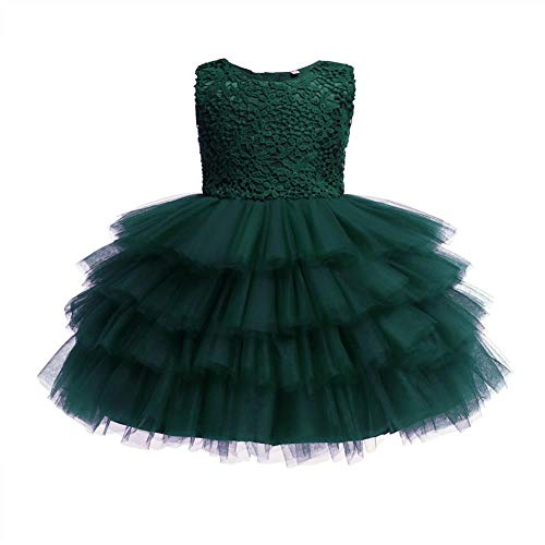 IMEKIS Vestido de encaje floral bordado con volantes para recién nacido, falda de tul para boda, cumpleaños, fiesta formal, vestido de baile