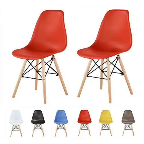 MCC direct Set of 2 Modern Design Dining Chairs Eiffel Retro Lounge Plastic Chairs, LIA (Red)