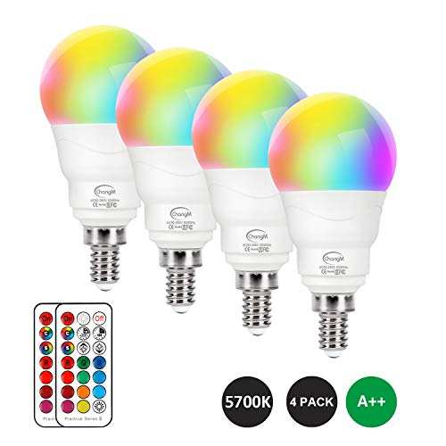E12 LED Light Bulbs RGBW 5W, 40W Equivalent, Small Base Candelabra Bulb, Set of 4 LED Color Changing Light Bulbs, Dimmable Colors LED Bulb, Color Changing Bulb with Remote Control RGB Cool White 5700K
