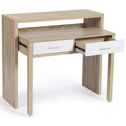 IDMarket - Bureau extensible MAX bois façon hêtre et blanc
