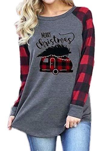 Merry Christmas Shirt Plaid Long Sleeve Raglan Baseball T-Shirt Women Christmas Casual Tops Blouse Size XL (Gray)