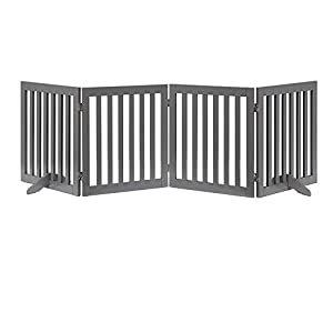 unipaws Freestanding Wooden Dog Gate, Foldable Pet Gate with 2Pcs Support Feet Dog Barrier Indoor Pet Gate Panels for Stairs, Gray (4 Panels, 20 inches Wide, 24 inches High)