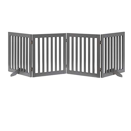 unipaws Freestanding Wooden Dog Gate Foldable Pet Gate with 2Pcs Support Feet Dog Barrier Indoor Pet Gate Panels for Stairs Gray 4 Panels 20 inches Wide 24 inches High