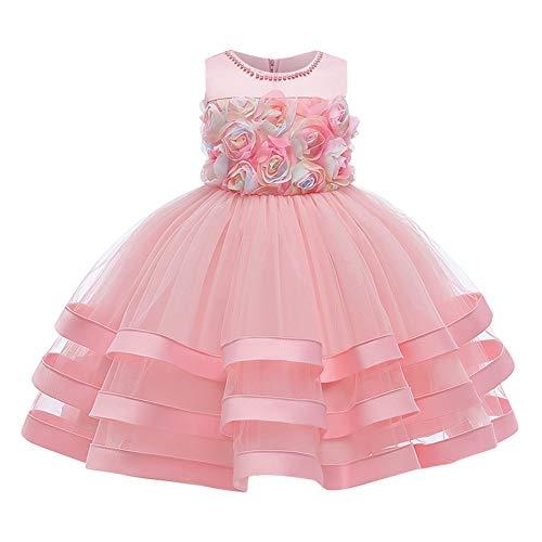 FYMNSI Vestito da festa per bambini, abito da damigella d'onore, tutù, principessa, abito da sera, per bambini, abito da sera, per il compleanno, per il battesimo S# rosa. 9-10 Anni