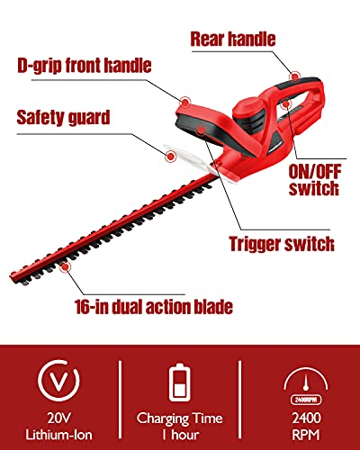 PowerSmart Hedge Trimmer, Cordless Hedge Trimmer with 16-INCH Long Blade, 20V Lithium-Ion Power Hedge Trimmer, Battery and Charger Included, PS76105A