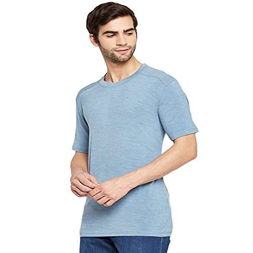 Kosha Men's Merino Wool & Bamboo Half Sleeve Thermal Top (Sky Blue,38)