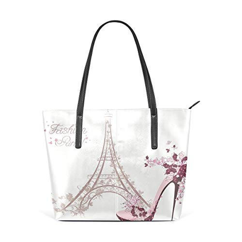 jhin France Eiffel Tower With High-Heeled Shoe Womens Purse PU Leather Shoulder Tote Bag Umhängetasche Backpack Ladies Travel Shopping Bags