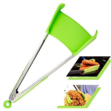 2 in 1 Non-Stick Silicone Kitchen Spatula & Tong. Multi Purpose Food Cooking & Serving Utensil with Heavy Duty Stainless Steel Frame. Size 12 INCH Color Green