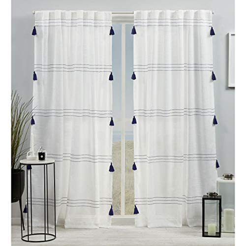 Exclusive Home Curtains Demi Light Filtering Hidden Tab Top Curtain Panel Pair, 54x84, Blue