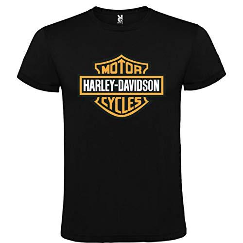 Camiseta Harley Davidson Logo Negra Hombre Tallas S M L XL XXL XXXL 100% ALGODÓN Mangas Cortas