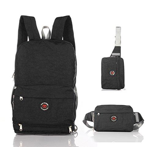 Top Power 8016 Ultralight and Ultra-versatile Packable Durable Travel Backpack/Waistpack/Shoulder bag -- 100% Satisfaction Guarantee-Black-L