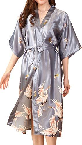 Chaos World Kimono Mujer Batas Largo Satén Flores Ropa de Dormir 3/4 Manga con Cinturón Elegante Pijama (Gris,X-Large)
