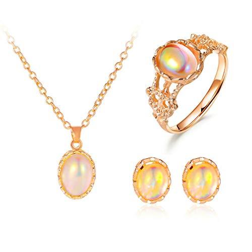 GMN 1set Simple Moonstone Anillo Pendientes Collar Conjunto Retro Día de San Valentín Regalo Oro