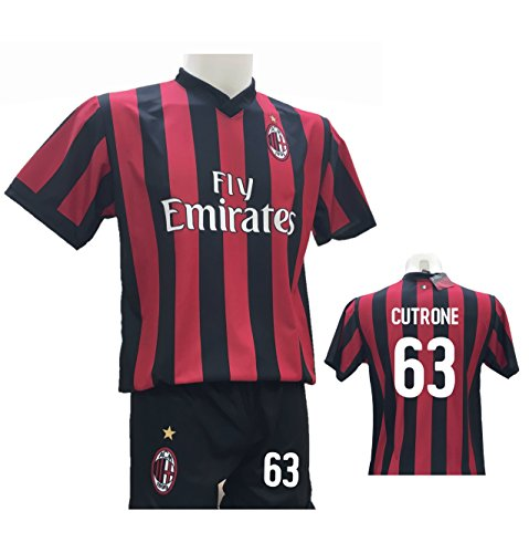 Conjunto de camiseta de fútbol 63 Milan + pantalón con número 63 impreso, réplica autorizada 2017-2018 para niño (tallas 2 4 6 8 10 12) adulto (S M L XL), Bianco, 12 Years