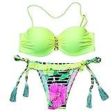 Bikini brasileño Sexy Traje de baño para Mujer Traje de baño con Estampado Floral Bandeau Push up Bikini Set Top Traje de baño de Playa