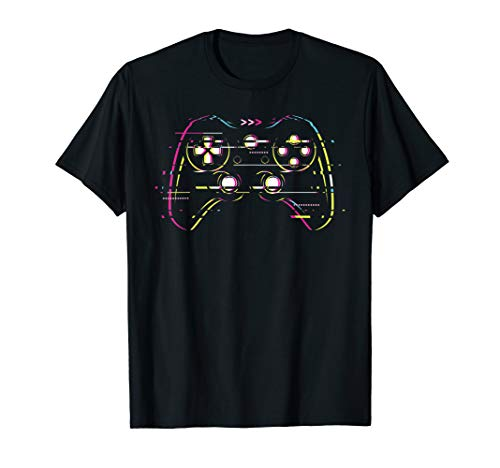 Glitchy Glitched Vaperwave Game Controller Pad Remote T-Shirt
