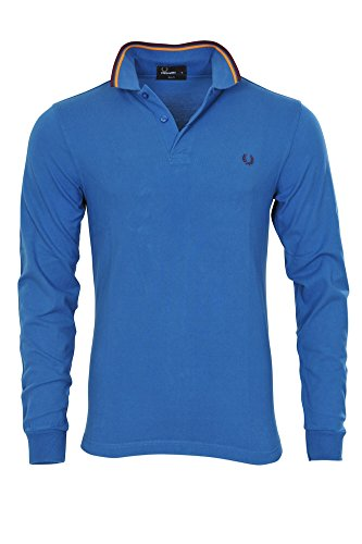 Fred Perry Polo Poloshirt Herren Blau Weinrot,Orange Baumwolle Slim Fit Casual S