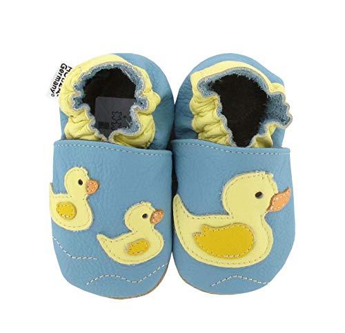 Krabbelschuhe Babyschuhe mit Tieren von HOBEA-Germany, Schuhgröße:24/25 (24-30 Monate), Modell Schuhe:Entenfamilie