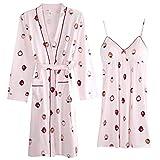 Conjuntos de Bata y Bata de algodón Modal Primavera Mujer Pijamas con Cuello en v Vestido de Dormir Albornoz 2 Piezas Dama de Honor Boda Ropa de Dormir XL
