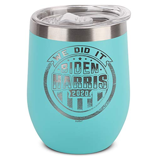 Shop4Ever We Did It Joe Biden Kamala Harris 2020 Engraved Insulated Stainless Steel Wine Tumbler with Lid (Teal)