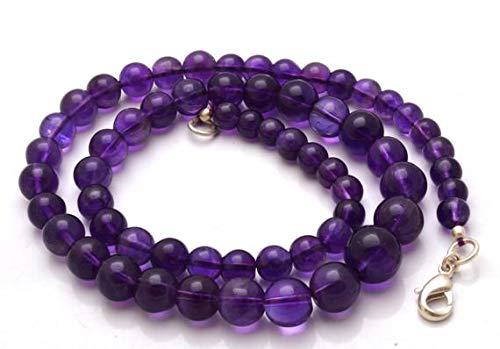 LKBEADS 1 hebra natural de 40,6 cm hermoso, magnífico, amatista morada oscura, collar con forma de bolas redondas de 6 a 10,5 mm Código HIGH-28423