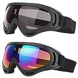 2 Piezas Gafas a Prueba de Viento, Gafas de Esquí para Deportes Invierno, Ajustable Protección UV Ordenador Personal Gafas de Esquí para El Ocio Diario, Montañismo, Esquí, Surf (Colorido, Gris)