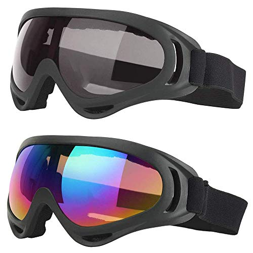 2 Pezzi Occhiali da Sci per Uomo e Donna, Occhiali da Sci per Sport Invernali, Regolabile Frangivento Protezione UV PC Occhiali da Sci per Il Tempo Libero Quotidiano, Sci, Surf (Colorato, Grigio)