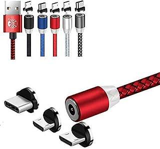 كابل مغناطيسي UGI دائري 3 في 1 USB C مايكرو USB 6FT كابل شحن أندرويد نوع C شاحن هاتف سريع متوافق مع آي برودكت فون X Xs 8 8...