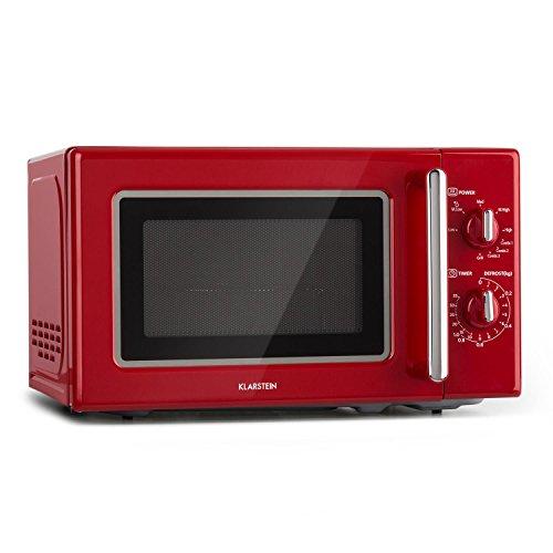 Klarstein Microondas retro • Microondas combi 2 en 1 con función grill • 20 litros • 700/1000 W de potencia • Ø 25,5cm • Diseño retro • Acero inoxidable • Rojo