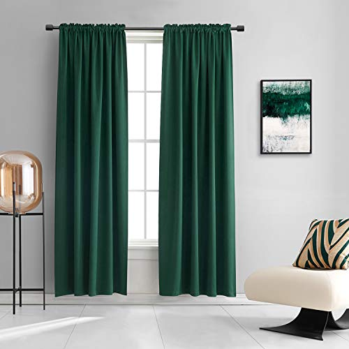 DONREN Dark Green Blackout Thermal Insulating Window Curtain Panels for Bedroom with Rod Pocket (Emerald Green,42 x 84 Inches Long,2 Panels)