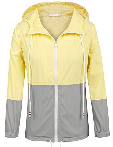 UNibelle Damen Regenjacke Leicht Jacke Windbreaker mit Kapuze Outdoorjacke Winddicht (Gelb, S)