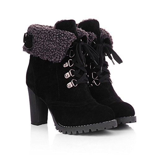 Milesline Fashion Women's Booties Winter Warm Fur Lined Lace Up Chunky High Heel Snow Boots,Black,8 B(M) US